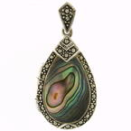 Estate 925 Silver Tear Drop Locket Abalone Seashell Marcasite 40MM Pendant