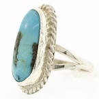 Vintage Estate Sterling Silver 925 Oval Turquoise Cockatil Ring - Size 6 1/2