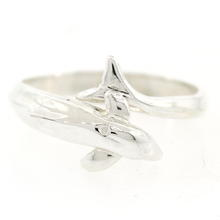 Vintage Estate 925 Sterling Silver Dolphin Wrap Around Size 8 Ring