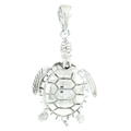 Estate 925 3D Silver Sea Turtle 40MM Moving Pendant