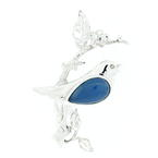 Estate 925 Silver Blue Bird Branch 40MM Pendant Jewelry