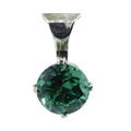 Vintage Estate Ladies 925 Silver Sparkling Green Round Cut Zirconia Slide Pendant