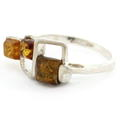 Estate 925 Silver Honey Cognac Amber Right Hand Ring Size 8.5