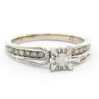 Estate Ladies 925 Silver Diamond Engagement Ring Size 7