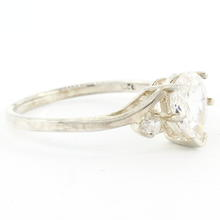 Estate Ladies 925 Silver White Colorless Zirconia Cocktail Ring Size 8