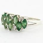 Estate Ladies 925 Silver Marquise Cut Green Zirconia Cocktail Ring Size 9