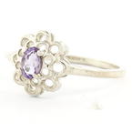 Estate Ladies 925 Silver Purple Oval Cut Amethyst Cocktail Ring Size 7.75
