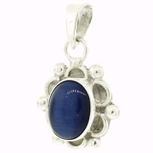Estate 925 Ornate Blue Cabochon Bezel Set 30MM Pendant