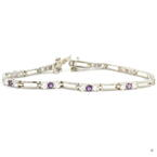 Estate Ladies 925 Silver Purple Amethyst Zirconia 7 Inch Bracelet