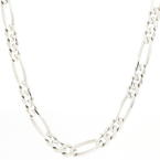 "Classic Men's 925 Sterling Silver Figaro 22"" Lobster Claw Clasp Chain - NEW"