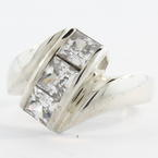 Estate Ladies 925 Silver White Colorless Zirconia Bypass Cocktail Ring Size 5.75