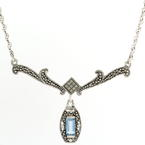 "Estate Silver 925 18"" Chain Blue Topaz Gemstone Marcasite Chandelier Drop Necklace"