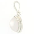 Estate 925 Silver Bezel Set Pearl Open Bail 30MM Pendant Jewelry