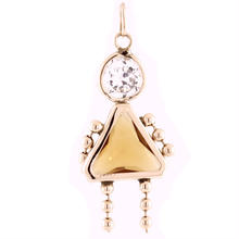 "Charming Modern Ladies 14K Yellow Gold ""Girl"" Cubic Zirconia Pendant - 30MM - NEW"