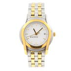 Ladies Gucci 5500L YA055528 Stainless Steel Gold 2-Tone Women's Watch White Dial