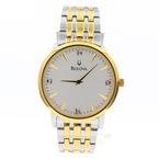 Men's Bulova 98D114 Two Tone Stainless Steel Diamond Accented Dial Dress Watch