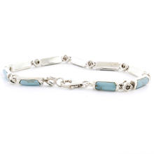 Estate 925 Silver Turquoise Marcasite 7 Inch Bracelet