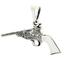 Estate 925 Silver Vintage Design Ornate Revolver Gun Pendant