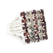 Estate 925 Silver Blood Orange Tourmaline and Marcasite Size 10 Cocktail Ring