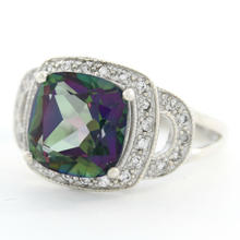 Estate 925 Silver Mystic Topaz Gemstone Right Hand Ring Size 6.75