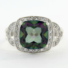 Vintage Estate Ladies 925 Silver Mystic Topaz Gemstone Statement Ring