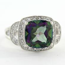 Vintage Estate Ladies 925 Silver Mystic Topaz Gemstone Statement Ring