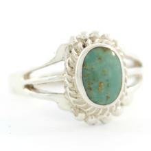 Estate 925 Silver Oval Cut Turquoise Right Hand Ring Size 4.75