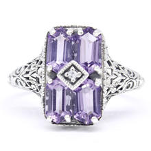 Estate 925 Silver Amethyst Gemstone Diamond Ornate Cocktail Ring Size 8.75