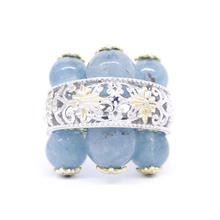 Estate 925 Silver Ornate Blue Jade Spheres Blue Topaz Cocktail Ring Size 8