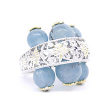 Estate Ladies 925 Silver Ornate Blue Jade Spheres Blue Topaz Cocktail Ring - Size 8