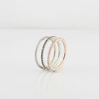 Three Modern Stackable 14K White Rose Gold Diamond Ring Set Eternity Bands