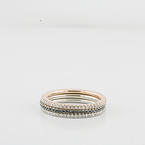 Three Modern Stackable 14K White Rose Gold Diamond Ring Set Eternity Bands