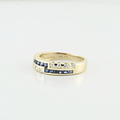 Estate 14K Yellow Gold Round Diamond Princess Sapphire Bypass Right Hand Ring