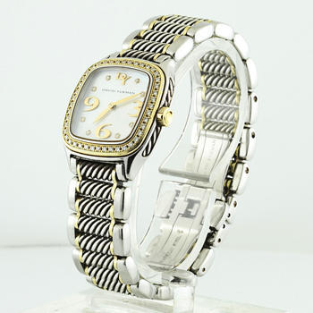 Authentic David Yurman 18K Gold Steel Silver Diamond Pearl Thoroughbred Watch