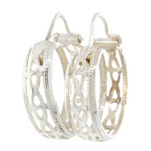 Estate 925 Silver Hoop Cut Out 20MM Earrings