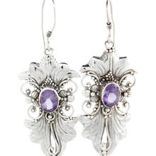 Estate 925 Silver Ladies Oval Cut Amethyst Gemstone Ornate Earrings