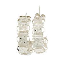 Vintage Estate Ladies Silver 925 Half Hoop Push Back Ornate Earrings