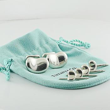 Rare Tiffany & Co Sterling Silver Elsa Peretti Tuxedo Cuff Link Bean Stud Set