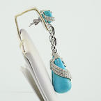 Beautiful Luxuries 18K Designer 2.72CTW Diamond Turquoise Dangle Ladies Earrings
