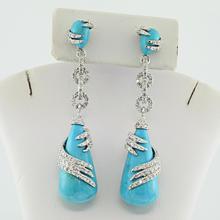 Beautiful Luxuries 18K Designer 2.72CTW Diamond Turquoise Dangle Ladies Earrings