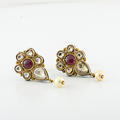 Over 4 Carats Of Rose -Cut Diamonds Bezel Set In 18 Karat Gold With Ruby Centers Earrings