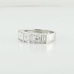 Stunning Princess Emerald Cut 2.75CTW Diamond White 18K Gold Wedding Band Ring