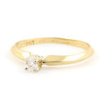 Estate Classic 14K Yellow Gold Diamond 0.10CTW Solitaire Engagement Ring Jewelry