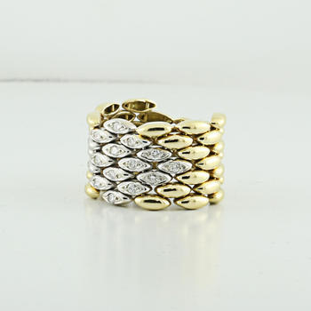 Stunning Flexible Custom Made 750 18K Fine Yellow White Gold Diamond Band Ring