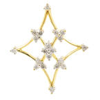New Modern 18K Yellow White Gold Diamond Snowflake Slide Pendant