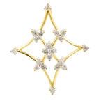 New Modern 18K Yellow White Gold Diamond Snowflake Slide Pendant