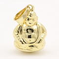 Estate 14K  Yellow Gold High Polished 20mm Hollow Buddha Charm Pendant