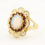 Vintage Estate 10K Yellow Gold Garnet Opal Cocktail Right Hand Ring
