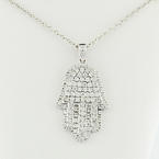Solid 14K White Gold 0.80 Pave Diamond Hamsa Pendant & Chain Lucky Necklace