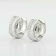 Luxury Cluster Princess 1.56CTW Diamond Ladies Fine 14k Huggie Hoop Earrings